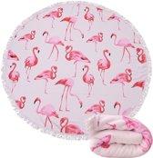 Roundie - Rond Strandlaken - Flamingo - 150 cm Diameter - Met Franjes - Picknick Kleed