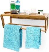 relaxdays Wandplank badkamer meubel - Plank + handdoekenrek - Rek bamboe hout 60x26x20cm.