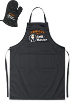 Mijncadeautje - BBQ-schort - Grill Master BBQ- zwart - XXL 97 x 68 cm - gratis Barbecue cap