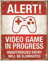 Metalen Retro Bord Video Game in Progress