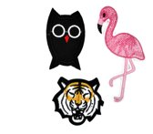 Strijk embleem 'Wilde dieren patch set (3)' – stof & strijk applicatie
