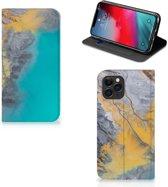 iPhone 11 Pro Standcase Marmer Blauw Goud