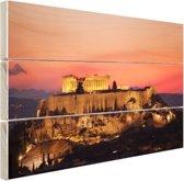 De Akropolis en het Parthenon Hout 160x120 cm - Foto print op Hout (Wanddecoratie) XXL / Groot formaat!