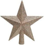 1x Donker parel/champagne glitter ster kerstboom piek kunststof 19 cm  - Donker parel/champagne kerstboom versieringen