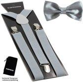 Bretels inclusief vlinderdas - Grijs - Sorprese - met stevige clip - bretels - vlinderdas - strik – strikje - luxe - heren - unisex - giftset