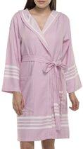 Hamam Badjas Sun Rose Pink - maat M - korte badjas - dames badjas - sauna badjas - badjas met kap / capuchon