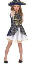 LUCIDA-CAMBODIA - Blauw piraten kostuum voor meisjes - M 122/128 (7-9 jaar) - Kinderkostuums