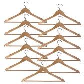 10 (+ 1 GRATIS) naturel gelakte houten kledinghangers van 44 cm breed met broeklat.