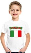 Italie t-shirt met Italiaanse vlag wit kinderen XS (110-116)