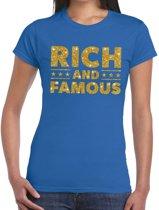 Rich and Famous goud glitter tekst t-shirt blauw voor dames L