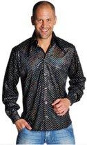 Zwart disco overhemd met glitters 52-54 (m)