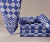 Homéé - Blokdoeken pompdoeken - Theedoeken  Blauw / wit |set van 6 stuks | 65 x 65 cm