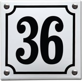 Emaille huisnummer wit/zwart nr. 36