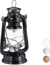 relaxdays lantaarn led - stormlamp - windlicht - led olielamp - retro stijl op batterijen zwart