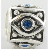 Quiges Bedel Bead - 925 Zilver - Zirkonia Blauw Kraal - Z599