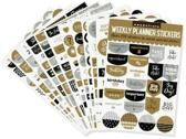 Essentials Weekly Planner Stickers, Black & Gold