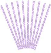 Lavendel - lila rietjes met witte stippen 10 st.