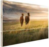 IJslandse paarden in het veld Hout 160x120 cm - Foto print op Hout (Wanddecoratie) XXL / Groot formaat!