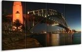 Glasschilderij Brug | Zwart, Wit, Geel | 160x80cm 4Luik | Foto print op Glas |  F002991
