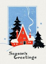 Red Cottage in Deep Snow - Christmas Card