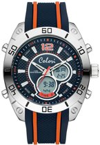 Colori Holland Sports 5 CLD113 Digitaal Horloge - Siliconen Band - Ø 49 mm - Donker Blauw / Oranje
