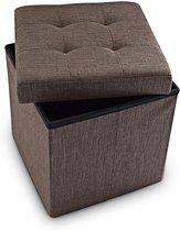 relaxdays zitkist met opslagruimte - opvouwbaar - van linnen - 38 x 38 x 38 cm - poef bruin