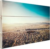 Het uitzicht vanuit de lucht van Athene Hout 160x120 cm - Foto print op Hout (Wanddecoratie) XXL / Groot formaat!