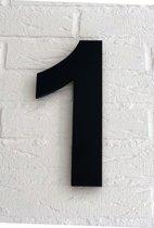 Huisnummer 1 / 20 cm / Arial / mat zwart acrylaat 8 mm. Huisnummers met 5 jaar garantie.