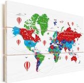 Kleurrijke wereldkaart op een witte achtergrond Vurenhout met planken 90x60 cm - Foto print op Hout (Wanddecoratie)