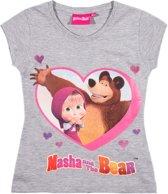 Masha-and-The-Bear-T-shirt-met-korte-mouw-grijs-maat-116