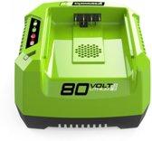 Greenworks 80V Batterijlader Zwart, Groen