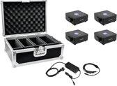 EUROLITE Set 4x accu uplighter 1 Zwart + Koffer + Oplader - LED Uplight Set