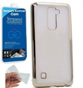 Teleplus LG Stylus 2 Laser Cut Silicone Case Silver + Glass Screen Protector hoesje