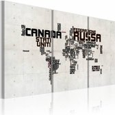 Schilderij - Kaart van de wereld, Italiaans - Drieluik