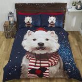 Dekbedovertrek Kerstmis Westie Hondje Malteser - eenpersoons met 1 kussensloop