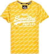 Superdry Vintage Logo Sport AOP Entry  Sportshirt - Maat L  - Vrouwen - geel/wit
