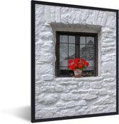 Foto in lijst - Vensterbank met geraniums fotolijst zwart 30x40 cm - Poster in lijst (Wanddecoratie woonkamer / slaapkamer)