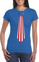 Blauw t-shirt met Amerika vlag stropdas dames L