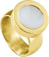 Quiges RVS Schroefsysteem Ring Goudkleurig Glans 20mm met Verwisselbare Cat's Eye Beige 12mm Mini Munt