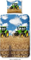 Good Morning 5604-P Groene tractor - kinderdekbedovertrek - 140x200/220 cm  - 100% cotton - multi