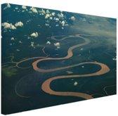 Amazone rivier Brazillie foto afdruk Canvas 80x60 cm - Foto print op Canvas schilderij (Wanddecoratie)
