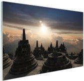 Borobudur bij zonsondergang Indonesie Glas 60x40 cm - Foto print op Glas (Plexiglas wanddecoratie)