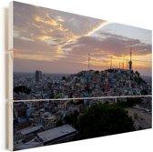 Schitterende zonsondergang in de Ecuadoraanse stad Guayaquil Vurenhout met planken 120x80 cm - Foto print op Hout (Wanddecoratie)