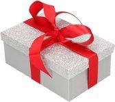 Cadeau gift box set - zilver glitter cadeaudoosje 24 x 15 cm en rood kadolint - kadodoosjes / cadeauverpakking