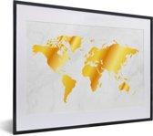 Foto in lijst - Wereldkaart met marmer fotolijst zwart met witte passe-partout klein 40x30 cm - Poster in lijst (Wanddecoratie woonkamer / slaapkamer)