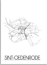 DesignClaud Sint-Oedenrode Plattegrond poster A3 + Fotolijst zwart