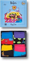 Happy Socks The Beatles Kids Limited Edition, 4-Pack Giftbox, Maat 2-3 jaar = schoenmaat 23-26