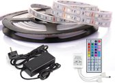 RGB Plak Led Strip 5 Meter Koud Wit/Multikleur met Afstandbediening/DC 12V Adapter