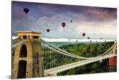 Heteluchtballonnen op een brug bij Bristol in het Verenigd Koninkrijk Aluminium 120x80 cm - Foto print op Aluminium (metaal wanddecoratie)