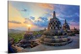 Kleurrijke lucht boven de Borobudur tempel Aluminium 90x60 cm - Foto print op Aluminium (metaal wanddecoratie)
